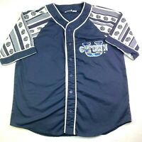 Giovanni L'uomo Georgetown Hoyas Bulldogs Blue White Mens Large Baseball Jersey