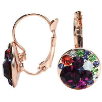 Round Drop Leverback Earrings - Made with Swarovski Crystals - Rose Gold Plating