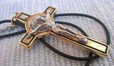 St Saint Benedict Gold Crucifix Cross Catholic Pendant Necklace 3 inc