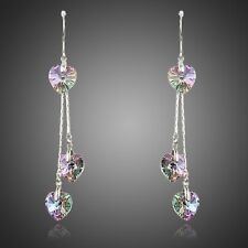New Genuine Swarovski Crystals Element Drop Dangle Sparkly Purple Heart Earrings