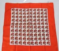 Vintage 1960s Scarf Hockey Players Red Orange Polyester Japan