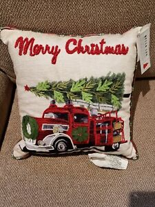 """NWT Bella Lux 12""""x12"""" Christmas Fire Truck w/Tree Decorative Throw Pillow Beaded"""