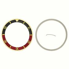 BEZEL+ INSERT FOR ROLEX SUBMARINER 18K REAL GOLD 16800 16613 16618 BLACK/RED GF