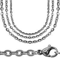 Halskette Gliederkette 55cm Silbern Edelstahlkette Damen Kette Charm Ankerkette
