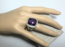 Authentic 17mm Albion Ring with Amethyst and Diamonds by David Yurman