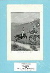 Genuine Antique Print 1894 Fox Hunting, The Brook by George Roller