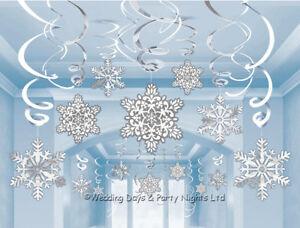 30 Frozen Snowflake Swirls Hanging Party Decorations Xmas Winter Wonderland