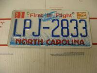1999 99 North Carolina NC License Plate LPJ2833 First in Flight
