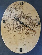 OVAL WOODEN WALL CLOCK..SHOOTING SCENE WITH HOUNDS