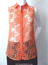 REVIVAL  Sleeveless Button Down Shirt Blouse RETRO Style Size 6 - 8 US 2 - 4