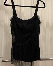 Victoria Secret Moda International Lace Rayon Tank Top Black Size XL NWT