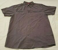 The North Face Mens Sz Large Short Sleeve Button Down Hiking Shirt Asphalt Gray