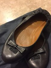 NEW FENDI BALLET BLACK FLATS Womens Size 38, US 8 *RETAIL PRICE $350*