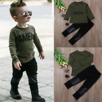 Toddler Kids Baby Boy Letter T-shirt Tops + Leather Pants Outfits Clothes Set
