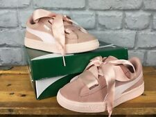 PUMA SUEDE HEART JEWEL PASTEL PINK RIBBON BOW VARIOUS SIZES CHILDRENS,GIRLS