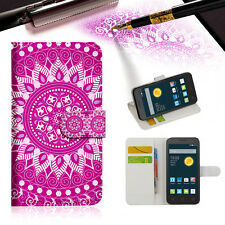 PURPLE AZTEC TRIBAL TPU Wallet Case Cover For Optus X Smart 4G -- A003
