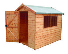 Wooden Sheds 8x6 Treated Apex Shed, High Eave Garden Shed, Shiplap Cladding