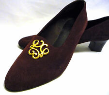 womens shoes size 41 EU 8 UK burgundy claret suede leather slip on golden clips