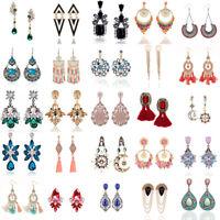 Women Elegant Crystal Rhinestone Ear Clip Stud Dangle Drop Earrings Jewelry