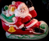 Vintage 1970 Empire SANTA in SLEIGH with TOYS CHRISTMAS Blow Mold