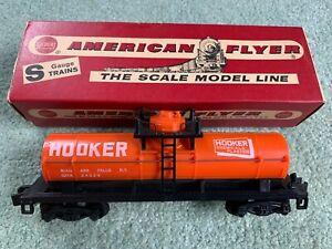 American Flyer #24329 Hooker Tank Car w/RARE original box bright orange pike 60s