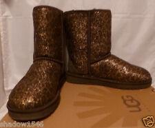 UGG Australia Women's Classic Short Glitter Boots Bronze/Brown Size 8 EURO 39