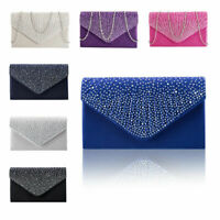 Women Silver Prom Handbag Ladies Satin Diamante Clutch Evening Bag Wedding Purse