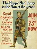 PROPAGANDA WAR WWI CANADA ROYAL HIGHLANDERS ENLIST FINE ART PRINT POSTER BB7030B