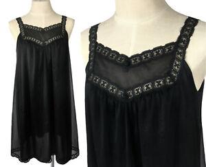 Vintage Black Double Chiffon Short Nightgown Babydoll Sissy Nightie Lingerie M-L