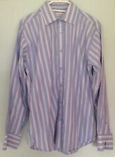 Blue white and pink stripped shirt butler and webb  cotton Mens shirt 15 1/2 39