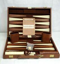 "Vintage BACKGAMON Game Set w Faux Leather 10"" x 15"" Travel Case COMPLETE"