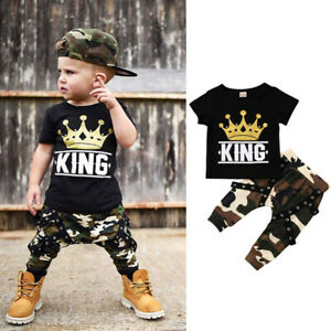 Toddler Infant Kids Baby Boys Clothes Shorts Sleeve T-shirt Tops+Pants Outfits