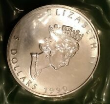 MONETA CANADA 5 DOLLARI 1990 ARGENTOFDC 1 ONCIA ELIZABETH II