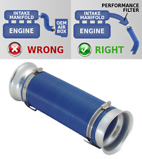 UNIVERSAL FREE FLOW COLD AIR FEED//INTAKE PIPE BLACK with BLUE RAMS UN2101B-Skoda