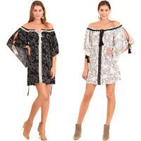 UMGEE Womens Boho Pheasant Chic Bohemian Paisley Crochet 3/4 Sleeve Dress S M L