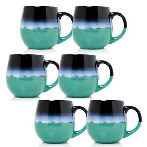 6pcs 500ml Stoneware Reactive Glazed Mug Iridescent Rainbow Polished Coffee Cup