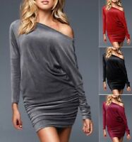 Womens Velvet Velour Long Sleeve Batwing Tunic Cocktail Dress