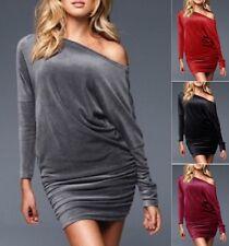 Womens Velvet Velour Long Sleeve Batwing Tunic Cocktail Dress