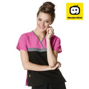 6026C Scrub Top for Women, Fashion 3 Panel Nurses Scrubs, Lower Pockets ID Loop