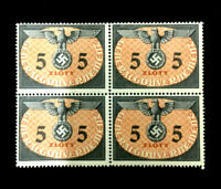 MNH WWII Symbol Stamp Block 5 Zloty 1940 Germany Occupied Poland