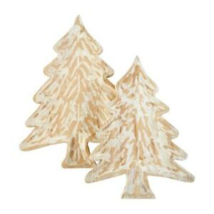 Rustic Carved Wood Christmas Tree Shaped Serving Tray Set of 2