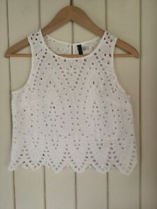 Ladies H&M White Broderie Anglaise Top. Size 10