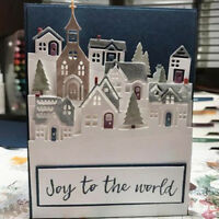 Beautiful Christmas House Cutting Die Stencil,Snow,Craft,Card Making,Xmas,Window
