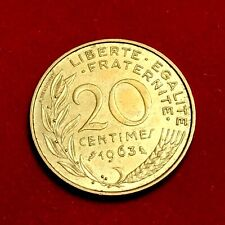 #1768 - RARE - 20 centimes 1963 Marianne SPL FACTURE