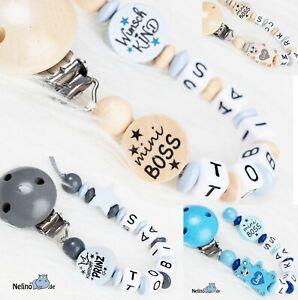Schnullerkette mit Namen für Jungen und Mädchen ♥Baby♥Geburt♥Taufe♥Geschenk