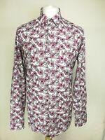 Ted Baker Mens Floral Button Shirt, Size 6 (UK 43), Pink Mix, 100% Cotton, GC