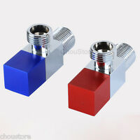 "Pair of Square Brass RED/BLUE Bathroom Angle Stop Valve 1/2"" Male Thread D36"