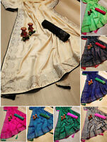 Indian Paksiatni Ethnic Sari Blouse Bollywood Sana Silk Saree Party Wearing 4071