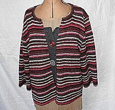 *PER UNA XL SHORT JACKET 3 BUTTON CARDIGAN REDS & GREYS STRIPES 3/4 SLEEVE WARM