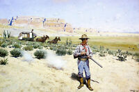 HENRY FARNY DEFENDING THE STAGECOACH ARTIST PAINTING REPRODUCTION HANDMADE OIL